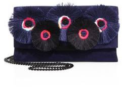 Loeffler Randall Floral-Embroidered Suede Tab Clutch