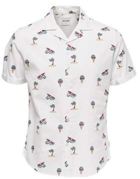 ONLY & SONS Allover Print Cotton Button-Down Shirt