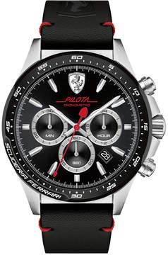 Ferrari Men's Chronograph Pilota Black Leather Strap Watch 45mm 0830389