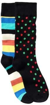 Happy Socks Assorted Printed Crew Socks - Pack of 2 Pairs