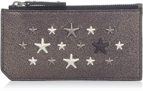 Jimmy Choo CASEY Gunmetal Glitter Leather Card Holder with Multi Metallic Metal Stars