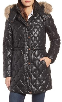 Andrew Marc Women's Quilted Anorak With Genuine Coyote Fur
