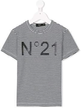 No.21 Kids striped logo print T-shirt