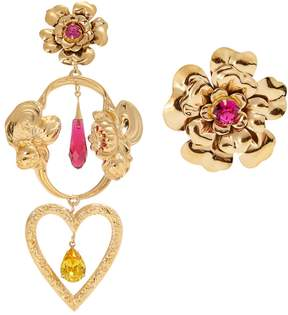 Rodarte Flower asymmetric gold-plated earrings