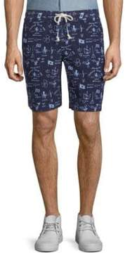 Michael Bastian Printed Cotton Drawstring Shorts