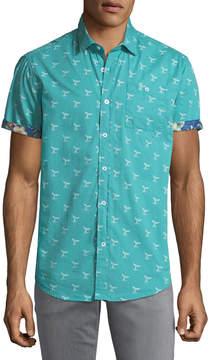 Report Collection Men's Whale Print Short-Sleeve Sport Shirt