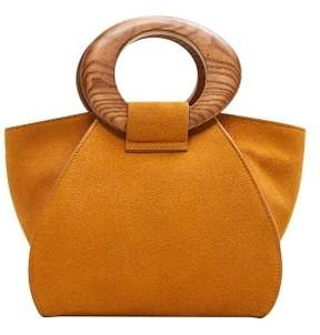 MANGO Wooden handle leather bag