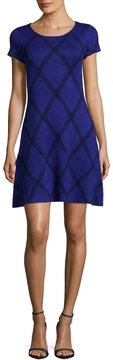 CeCe Women's Plaid Intarsia A line Dress