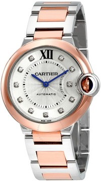 Cartier Ballon Bleu Silver Diamond Dial Steel and 18K Pink Gold Automatic Ladies Watch