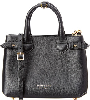 Burberry Banner Small House Check & Leather Tote - BLACK - STYLE