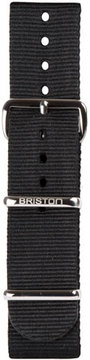 Briston 20mm Nylon NATO Watch Strap w/ Polished Buckle, Black