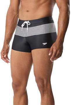 Speedo Men's Striped Square-Leg Hybrid Fitness Swim Shorts