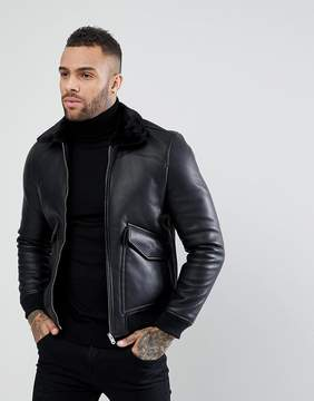 Pull&Bear Faux Leather Aviator Jacket In Black