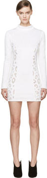 Anthony Vaccarello White Leopard Spot Embroidered Dress
