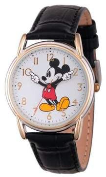 Disney Mickey Mouse 2-tone Moving Hands Black Croco Leather Strap Watch