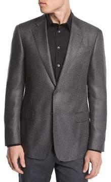 Giorgio Armani Chevron Jacquard Silk-Wool Two-Button Sport Coat, Black/White