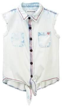 True Religion Woven Tie Front Shirt (Toddler & Little Girls)