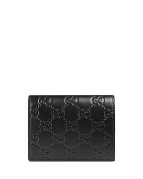 Gucci Guccissima Card Case, Black - BLACK - STYLE