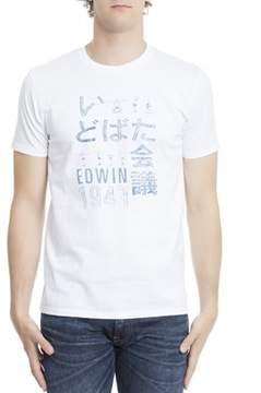 Edwin Men's Light Blue/white Cotton T-shirt.