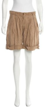 Emporio Armani Perforated Suede Shorts w/ Tags