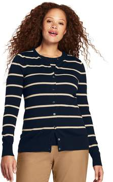 Lands' End Lands'end Women's Plus Size Supima Cardigan Stripe Sweater