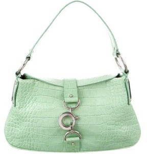 Dolce & Gabbana Crocodile Handle Bag - GREEN - STYLE