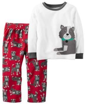 Carter's Toddler Boys 2 Piece Fleece Puppy Dog Sleepwear Pajama Set 2T
