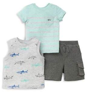 Little Me Baby Boy's Three-Piece Graphic Top, Tee and Shorts Set