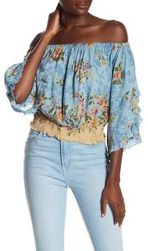 Angie Smocked Off-the-Shoulder Blouse