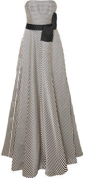 Halston Strapless Striped Faille Gown - Cream