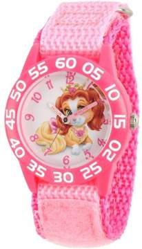 Disney Palace Pet Teacup Girls' Pink Plastic Time Teacher Watch, Pink Hook and Loop Nylon Strap