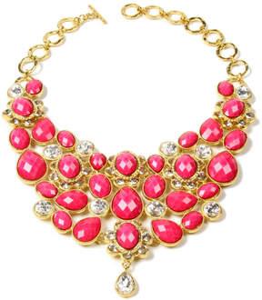 Amrita Singh Fuchsia & Goldtone Crystal South Fork Bib Necklace