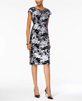 ECI Metallic-Print Velvet Sheath Dress