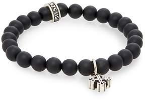 King Baby Studio Men's Onyx Beaded & Sterling Silver Cross Bracelet