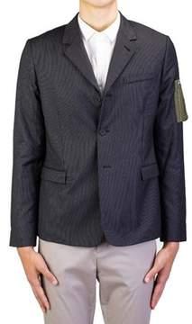 Christian Dior Men's Soft Virgin Wool Padded Sportscoat Jacket Pinstriped Black.