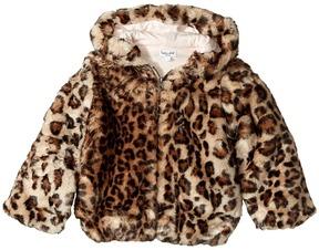 Splendid Littles Leopard Faux Fur Hooded Jacket Girl's Coat