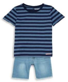 Hudson Baby Boy's Two-Piece Striped Tee & Denim Shorts Set
