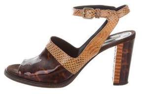 Dries Van Noten Snakeskin & Patent Leather Sandals