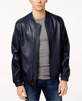 Calvin Klein Men's Slim-Fit Perforated Leather Baseball Jacket