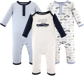 Hudson Baby Light Blue & Navy Stripe Cars Playsuit Set - Infant