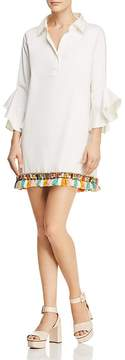 Badgley Mischka Beaded Tassel Hem Dress