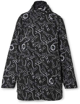 Balenciaga Oversized Printed Hooded Shell Windbreaker Jacket - Black