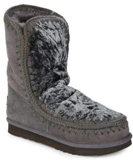 Mou Sheepskin Fur and Leather Ankle Boots