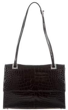Gucci Alligator Flap Bag - BLACK - STYLE