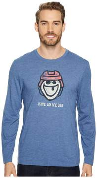 Life is Good Ice Day Hockey Long Sleeve Cool Tee Men's Long Sleeve Pullover