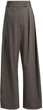 Awake High-rise pleated wool-blend trousers