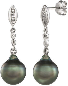 JCPenney FINE JEWELRY Genuine Tahitian Pearl and Diamond-Accent Sterling Silver Drop Earrings