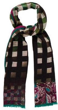 Etro Checkered and Paisley Print Scarf