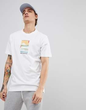 MHI T-Shirt In White With Fuji Print