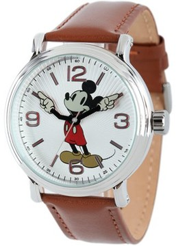 Disney Mickey Mouse Men's Shinny Silver Vintage Articulating Alloy Case Watch, Brown Leather Strap